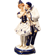 REDUCED Hinode Moriyama Pierrot Couple Art Deco Porcelain Figurine