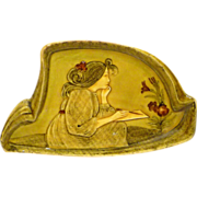 REDUCED Art Nouveau Majolica Pin / Dresser Tray Pensive Lady Artist