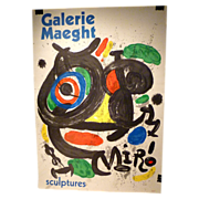 REDUCED Joan Miro Galerie Maeght Poster Original 1970 Lithograph