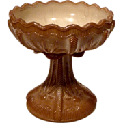 REDUCED Greentown Cactus Chocolate Glass Compote