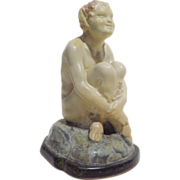 REDUCED Joe Descamps Louis Lourioux Seated Faun French Pottery Figure