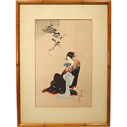"REDUCED Japanese Woodblock Print by Hosoda Eishi ""Beauty In Summer"""