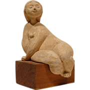 REDUCED Renato Bassoli Original Mid Century Nude Terra Cotta Sculpture
