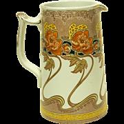 REDUCED 1902 Art Nouveau Kelmscott Pottery Pitcher Colonial Pottery Stoke on Trent