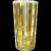 REDUCED 8 MCM Culver LTD 22kt Gold Plaid Highball Glasses