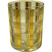REDUCED 8 MCM Culver LTD 22kt Gold Plaid Double Old Fashioned Glasses