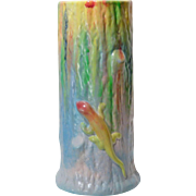 REDUCED Art Deco Bretby Pottery England Pastel Tree Trunk Vase with Chameleon