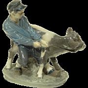 REDUCED Vintage Royal Copenhagen Boy With Calf Figurine