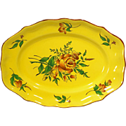 "REDUCED Elyssee by Luneville Faience de France Louis XV Strasbourg Yellow 14"" Platter"