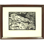 Original Wood Block Print by Chicago WPA Artist Natalie Henry