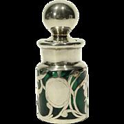 Silver Overlay Green Glass Smelling Salts Bottle