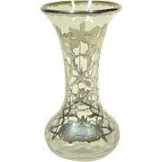 Silver Overlay Clear Glass Vase