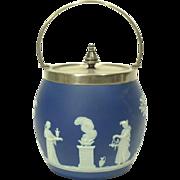 19th Century Wedgwood Dark Blue Jasper Biscuit Barrel / Jar - marked WEDGWOOD only