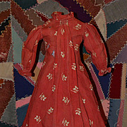 1860-70s Turkey Red Dress for Large China, Mache, Wax Dolls