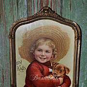 Adorable Little Boy and Puppy, Framed Antique Chromolitho Print