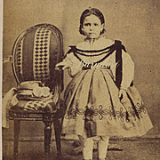 SALE PENDING CDV Photo Young Girl in Enfantine Dress Like Huret Doll Wears