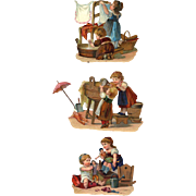 SOLD Set of 3 Adorable Antique Die Cuts, Little Girls Playing Dolls, Laundry #B