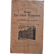 SOLD 1901 New England Home for Little Wanderers, Boston, Mass. Orphanage