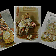 c1892 Jacks & Jills, Raphael Tuck, Helen Jackson, Illus. 16 Color Pages Children, Cats, Dolls