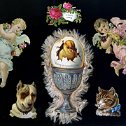 Victorian Die Cuts, Easter, Peace, Cat, Dog, Angels
