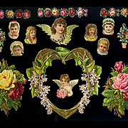 Victorian Die Cuts, Scatter Roses, Heart, Angels   #215