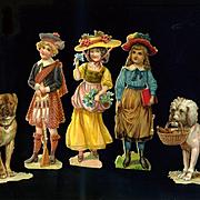Victorian Die Cuts, Boy in Kilt, Girls, Book, Fancy Hats, Smart Dogs  #217