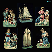 Victorian Children, Baby, Playing at Seashore, Sailboats, Antique Die Cuts  #225