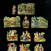 1870s Small Early Die Cuts, People Scenic, Ladies, Children #228