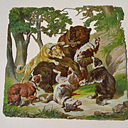 HUGE Victorian Die Cut, Dogs and Bear Hunt Scene  #231