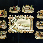 Winter Birds Sheltering in Snow, Fence, Victorian Die Cuts  #240