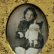 1850s Daguerreotype of Little Girl Holding Large China or Papier Mache Doll, Light Tinting 3 D