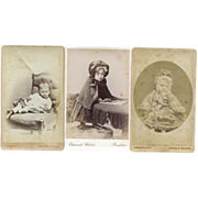 SOLD 3 CDV's, Little Girls in Hooded Capes, Funny Slouched Pose