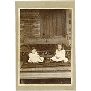 SOLD Antique Photo, Two Girls on Porch, Nice Furniture, Rug, Cabin