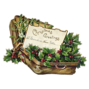 SOLD Holly Berry in a  Suitcase, Victorian  Embossed Die Cut Christmas Tag