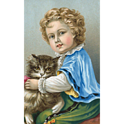 SOLD 1870's Chromolithographic Print of Little Boy with Big Fluffy Cat