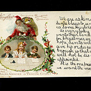 Huyler's Chocolates Advertising Christmas Postcard with Santa & Children