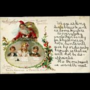 Huyler's Chocolates Advertising Christmas Postcard with Santa & Children