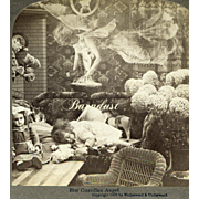 1902 Stereoview Photo, Ethereal Angel Hovers Over Sleeping Child, Jumeau Doll