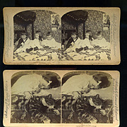 2 Stereoview Photos, 1890s Cute Children, Cherubic Child & Tabby Cat Sleeping