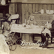 SALE PENDING 1897 Stereoview Boy & Girl with Bidque / China Dolls Playing House