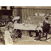 1897 Stereoview Boy & Girl with Bidque / China Dolls Playing House