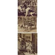 3 Antique Stereoview Photos, Mama Dog Holds Pail In Mouth, Puppies Wait, Kids w Pup ...