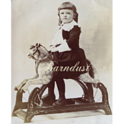 c. 1890s Child on a Platform Hobby Horse, Great Image