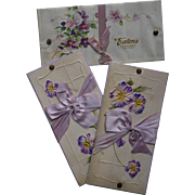 c 1900s Three Eaton's Sample Candy Box TOPS Only,  Purple Embossed Pansies / Violets, Lavender