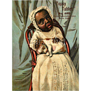 c. 1890s Topsy Black Americana, Child Holds Sleeping Puppy, Writing Tablet Cover