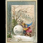 SALE 30% OFF--48 Hr. SALE--1884 January Calendar Page, Winter Fairies / Childlike Cherubs Roll