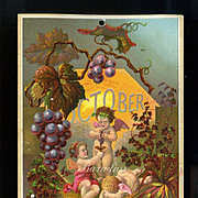 1884 October Calendar Page, Fairy Cherubs Harvest Grapes, Make Wine, Drink Too Much