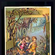 SALE 30% OFF-- 48 Hr SALE--1884 November Calendar Page, Cherub Children & Dog Run Through Fore
