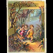 SALE 30% OFF-- 48 Hr SALE--1884 November Calendar Page, Cherub Children & Dog Run Through ...