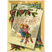 1884 December Calendar Page, Fairy Children Ice Skate Beneath Holly Berry & Mistletoe